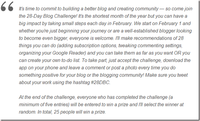 Mark Your Calendars  28 Day Blog Challenge