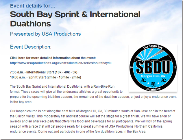 South Bay Sprint   International Duathlons   Sunday  March 10  2013